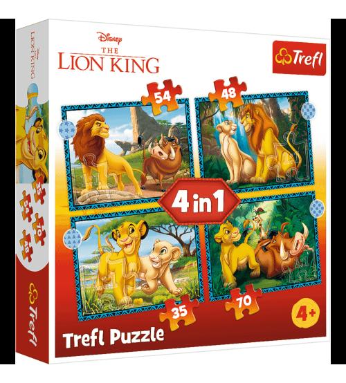 Puzlis TREFL Adventures of the Lion King Karalis Lauva 4 in 1 4+ T34605
