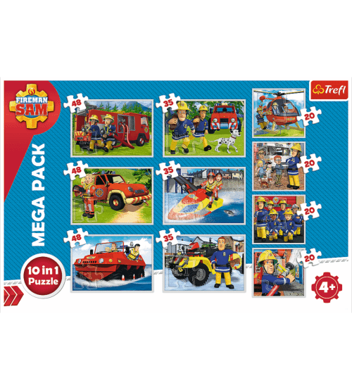 Puzlis TREFL Fireman Sam's rescue team 10 in 1 no 20 gb. līdz 48 gb. 4+ T90356