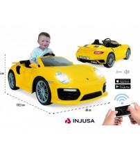 Akumulātoru vienvietīga bērnu mašīna Porsche 911 turbo s 6V radiovadāmā no 3-6 gadiem I-7182 Spānija