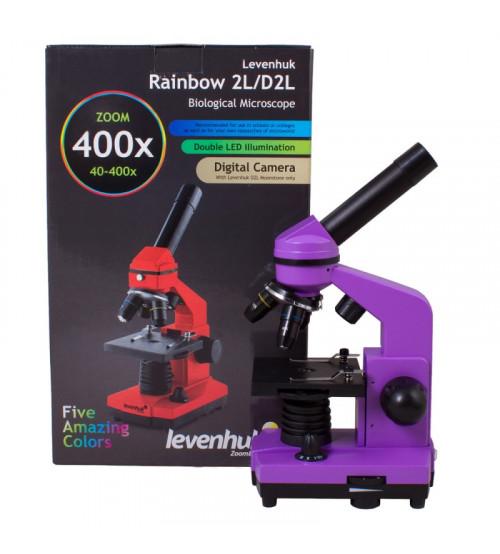 Mikroskops ar Eksperimentālo Komplektu K50 Levenhuk Rainbow 2L Violētā Krāsā 40x-400x 69061