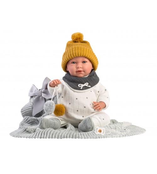 Lelle zīdainis puika Mimo 42 cm (raud, runā, ar mānekli, mīkstais ķermenis) Spānija LL74001