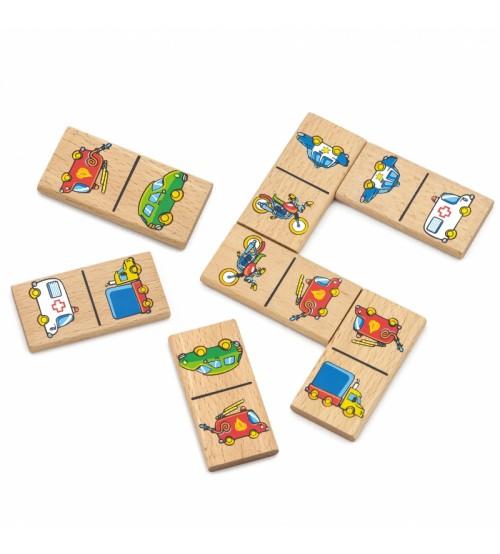 Koka rotaļu domino ar attēliem Transports 28 elem. VIGA Educational Domino Blocks 59623