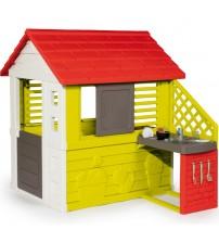 Bērnu dārza mājiņa ar virtuvi un 17 aksesuāriem 145 x 110 x 127 cm 810713