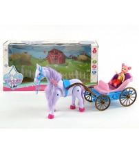 Leļļu kariete ar staigojošu zirgu un ar skaņu 30 cm 204782