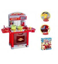 Bērnu virtuves plīts ar piederumiem ar skaņu un gaismu 24 detaļas 403024