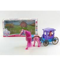 Leļļu kariete ar staigojošu zirgu un ar skaņu 30 cm 204799