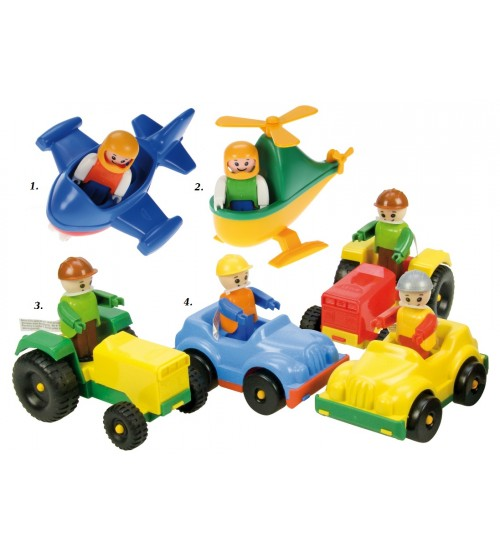 Dažadās Mini World (traktors, mašīna, helikopteris, līdmašīna) ar cilveciņu Lena 2+
