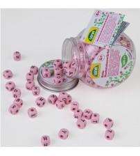 Koka kauliņi ar burtiem verami rozā krāsa (160gab) LENA 4+ L32008
