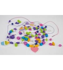 Koka kreļļu izgatavošanas komplekts 206 detaļas rozā/violētas 4+ L32013