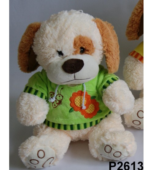 Plīša suns 40 cm (P2613) baltais zaļā krekliņā