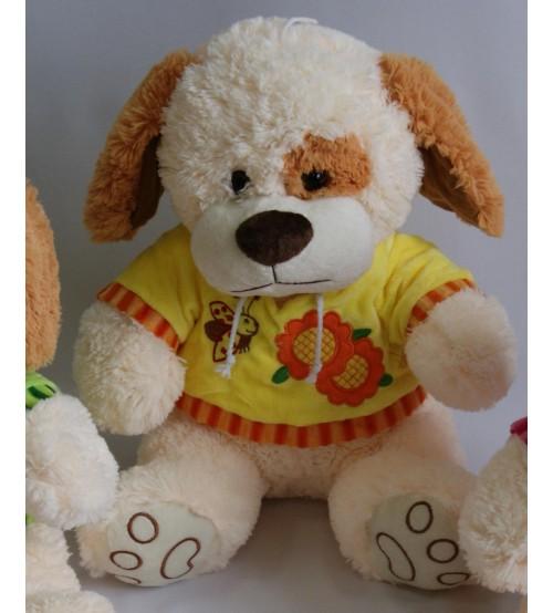 Plīša suns 40 cm (P2613) baltais dzeltenā krekliņā