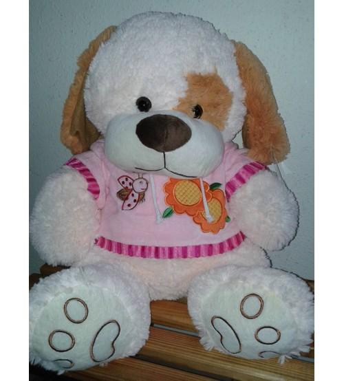 Plīša suns 40 cm (P2613) baltais rozā krekliņā