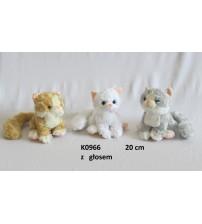 Plīša kaķis ar skaņu 20 cm (K0966) dažādas 131331