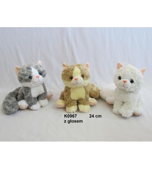 Plīša kaķis ar skaņu 24 cm (K0967) dažādas