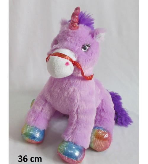 Plīša zirgs vienradzis 28 cm (k1026) violētā krasā 138019-2