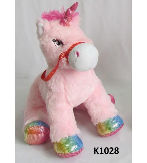 Plīša zirgs vienradzis 36 cm (k1028) rozā krasā