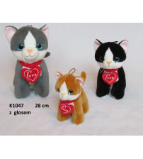 Plīša kaķis ar skaņu 28 cm (K1047) dažādas 139351