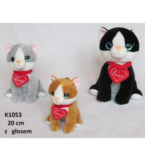 Plīša kaķis ar skaņu 20 cm (K1053) ar sirsniņu dažādas 139733