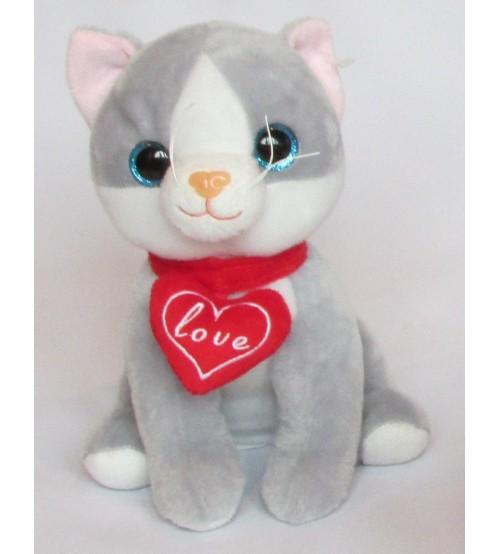 Plīša kaķis ar skaņu 25 cm (K1054) pelēks
