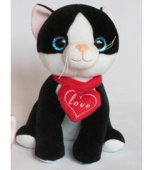 Plīša kaķis ar skaņu 25 cm (K1054) melnais