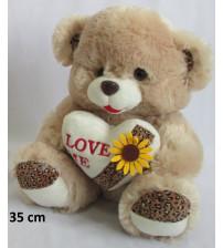 Plīša lācīs 35 cm ( M3270) brunais ar sirdi