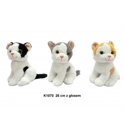 Plīša kaķis ar skaņu 26 cm (K1070) dažādas 142603