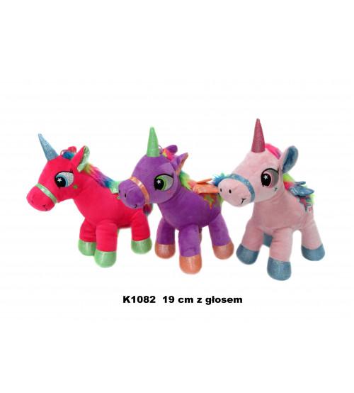 Plīša zirgs vienradzis ar skaņu 19 cm (K1082) dažādās 144294