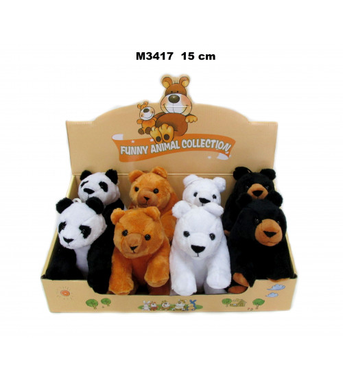 Plīša lācīs 15 cm (M3417) panda, baltais, brunais, grizli 147998