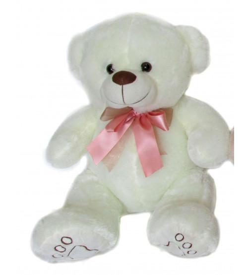 Plīša lācīs 40 cm (M3471) baltais ar rozo 150820-1