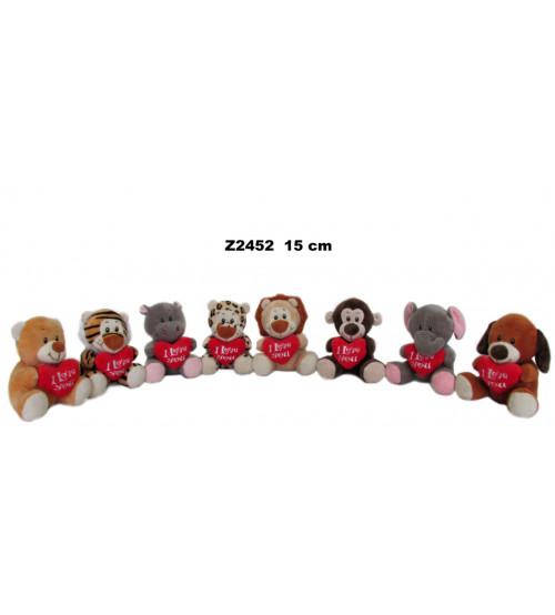Plīša dzīvnieciņš 15 cm ar sirdi (Z2452) dažādas 151346