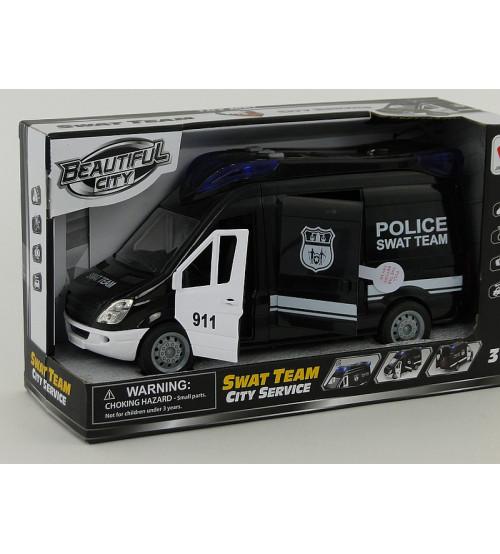 Policijas mašīna ar atveramām durvim, ar skaņu un gaismu 24x12 cm 503663