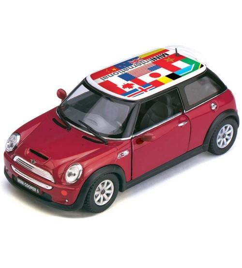 Metāla auto modelis Mini Cooper S w/ flag printing 1:28 KT5059F