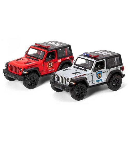 Metāla mašīnas modelis 2018 Jeep Wrangler (Police/ Firefighter) 1:34 KT412PR