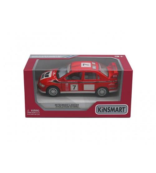Metāla mašīnas modelis Mitsubishi Lancer Evolution VII WRC kastē 1:36 KT5048W