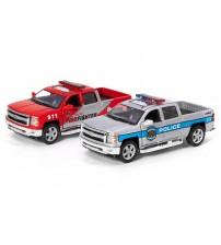 Metāla auto modelis  2014 Chevrolet Silverado (Police/ Fire Fighter) 1:46 KT5381PR
