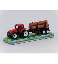 Traktors ar baļķiem plastmasas 20 cm 417847 dažādas