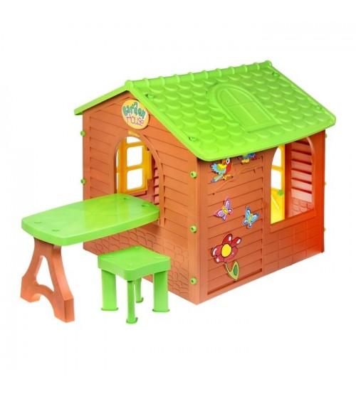 Bērnu dārza mājiņa ar galdu un krēsliņu 11045 1.22x1.8x1.2 cm