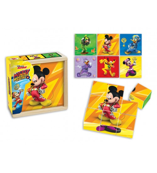 Koka kluči ar Mickey and the Roadster Racers bildēm 9 elementi, 6 zīmējumi 18m+ 4413S-MIM-B