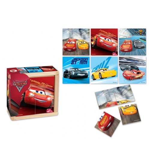 Koka puzzle CARS 4 elementi, 6 zīmējumi 10 m+ 6861CAR-C
