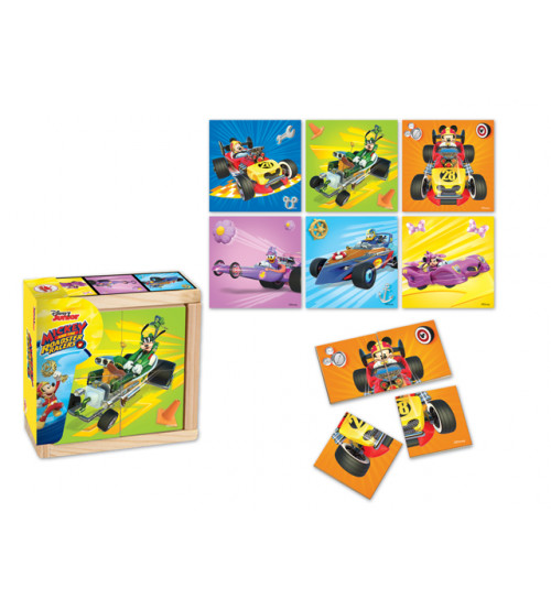 Koka puzzle MICKEY AND THE ROADSTER RACERS 4 elementi, 6 zīmējumi 10 m+ 6861MIM-B