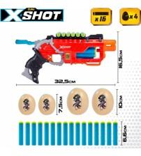 Pistole ar 16 porol. šautriņam, 4 olam līdz 27 m X-Shot Dino Attack ZURU 8 g+ CB46559