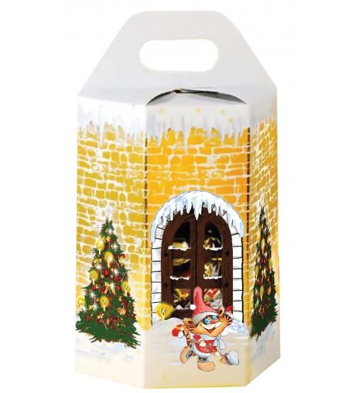 """Konfekšu kārba """" Ziemassvētku tornis ar tīģerēniem"""" ar saldumiem 500 gr K22-2"""