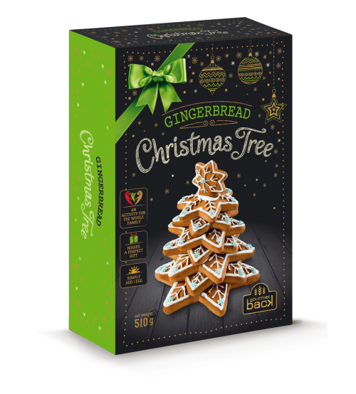 """Piparkūkas ar dekorēšanas komplektu """"Ziemassvētku eglīte"""" 510 gr  K22-22"""