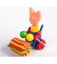 Stumjamā plastmasas rotaļlieta ar kociņu - lapsa ar veltni 340336