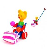 Stumjamā plastmasas rotaļlieta ar kociņu - lācis ar veltni 340350