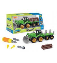 Konstruktors Traktors ar instrumentiem, baļķiem 34 cm 511613