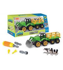 Konstruktors Traktors ar instrumentiem, ar mājlopiem 34 cm 511620