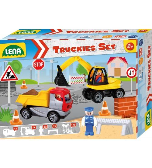 Komplekts : pašizgāzējs (22 cm), ekskavators (25 cm), ceļa zīmju komplekt, policista rotaļlietu figūra un ceļa bloķētājs Lena Truckies L01631(kastē)