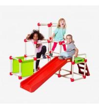 Bērnu izklaides laukuma kāpnes ar slidkalniņu saliekāms Piramīda 1,5x1,2x1,2m 491303
