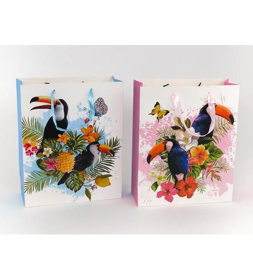 Maisiņš dāvanu 32x26.5x10 cm Tukāns un ziedi 489547